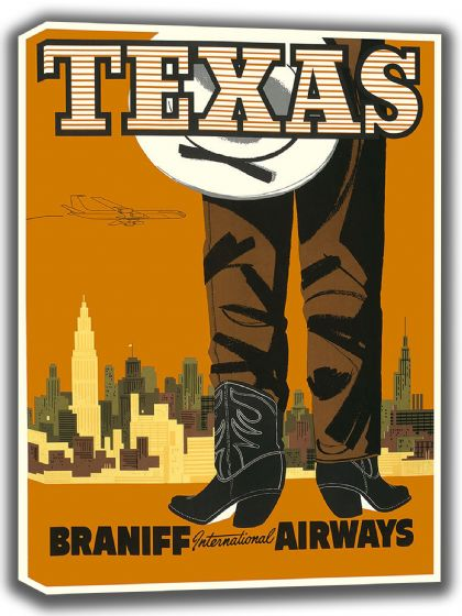 Texas. Vintage USA Travel Canvas. Sizes: A4/A3/A2/A1 (002704)